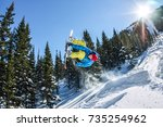 snowboarder freerider jumping... | Shutterstock . vector #735254962
