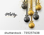 christmas greeting card  design ... | Shutterstock .eps vector #735257638
