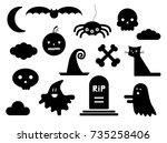 halloween silhouettes | Shutterstock .eps vector #735258406