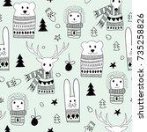 vector seamlee christmas...   Shutterstock .eps vector #735258826