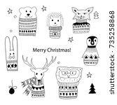 vector christmas design... | Shutterstock .eps vector #735258868
