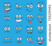 cartoon faces set | Shutterstock .eps vector #735259492