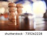 serving cutlery in a restaurant | Shutterstock . vector #735262228