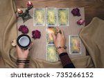 Tarot Cards On Wooden Desk...