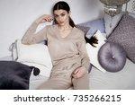 beautiful sexy woman brunette... | Shutterstock . vector #735266215