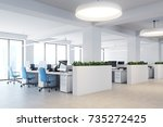 upscale office interior with... | Shutterstock . vector #735272425