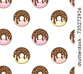 seamless pattern with glazed... | Shutterstock .eps vector #735272926