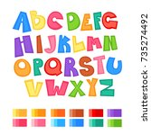 cartoon alphabet with color... | Shutterstock .eps vector #735274492