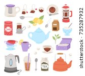 tea time drinking procedure... | Shutterstock .eps vector #735287932