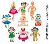 different dolls toy character... | Shutterstock .eps vector #735287938