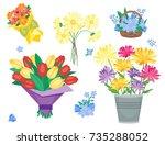 vintage floral vector bouquet... | Shutterstock .eps vector #735288052