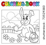 coloring book with bunny and... | Shutterstock .eps vector #73529383