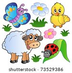 various happy spring animals  ... | Shutterstock .eps vector #73529386