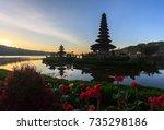 pura ulan danu bratan temple... | Shutterstock . vector #735298186