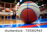 basketball ball on court floor... | Shutterstock . vector #735302965