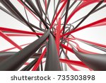 high tech black and red wires... | Shutterstock . vector #735303898