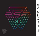 impossible shape  triangles ...   Shutterstock .eps vector #735316612