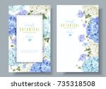 Stock vector vector vertical banners with blue and white hydrangea flowers on white background floral design 735318508