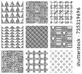 seamless vector pattern. black... | Shutterstock .eps vector #735319696