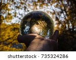 Hand Holding Crystal Ball With...