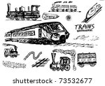 train transport collection - stock vector
