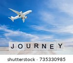 word spell journey by wooden... | Shutterstock . vector #735330985