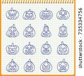 carving face halloween pumpkin... | Shutterstock .eps vector #735334756