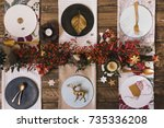 holiday gold place setting ... | Shutterstock . vector #735336208