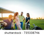 two young couples enjoying time ... | Shutterstock . vector #735338746
