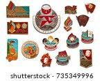 set of vintage original badges... | Shutterstock . vector #735349996