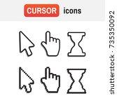 mouse hand arrow. pixel cursors ... | Shutterstock .eps vector #735350092