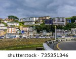 the fishery harbour  luarca ... | Shutterstock . vector #735351346