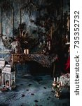 dark decor with dried flowers ... | Shutterstock . vector #735352732