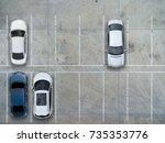 empty parking lots  aerial view. | Shutterstock . vector #735353776