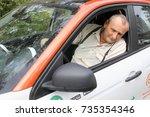 moscow   sep 17  2017  elderly... | Shutterstock . vector #735354346