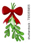 mistletoe with red bow isolated ...   Shutterstock .eps vector #735355855