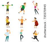 sports people in the flat style.... | Shutterstock .eps vector #735370945