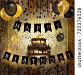 happy birthday vector... | Shutterstock .eps vector #735376528