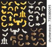 golden arrows silver arrows and ... | Shutterstock .eps vector #735380095