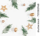 christmas composition.... | Shutterstock . vector #735383968