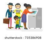 group of caucasian white  asian ... | Shutterstock .eps vector #735386908