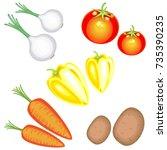 fresh tasty vegetables. in the... | Shutterstock .eps vector #735390235