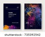 neon explosion paint splatter... | Shutterstock .eps vector #735392542