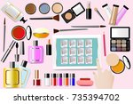 cosmetic accessories are around ... | Shutterstock .eps vector #735394702