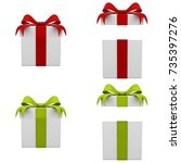 collection of 3d gift boxes... | Shutterstock . vector #735397276