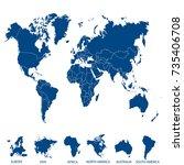 world map. europe asia america... | Shutterstock .eps vector #735406708