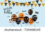 halloween concept with... | Shutterstock .eps vector #735408145