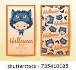 boy and girl wearing halloween... | Shutterstock .eps vector #735410185