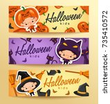 boy and girl wearing halloween... | Shutterstock .eps vector #735410572