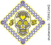 holy death  day of the dead ... | Shutterstock .eps vector #735411442